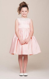 Pleated Ribbon Jewel Tea-Length Flower Girl Dress