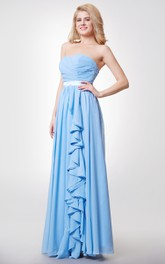 Crisscross Sweetheart A-line Chiffon Long Dress With Satin Sash