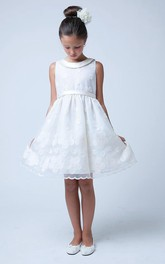 Satin Embroidery Tiered Floral Flower Girl Dress
