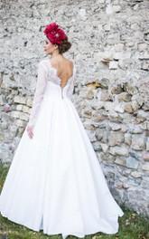 Satin Brush Train Long-Sleeve Bateau-Neckline Wedding Gown