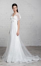 Short-Sleeve Floral Tulle Floor-Length Column Lace Dress