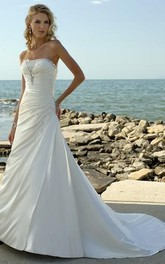 Strapless Satin A-line side-ruched Wedding Dress With Corset Back And Sweep Train
