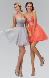 A-Line Ruffles Jeweled Short Mini Sleeveless Strapless Tulle Dress