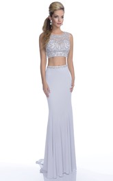 Form-Fitted Featuring Jeweled-Bodice Crop-Top Jersey Formal Sleeveless Dress