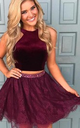 Halter Satin Lace Sleeveless Mini Two Piece Homecoming Dress with Ruffles