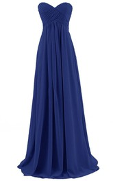 Ruched-Bodice Chiffon Asymmetrical Sweetheart Floor-Length Dress