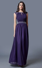 Chiffon Keyhole Back Short-Sleeve Brilliant Gown