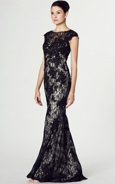Floor-Length Illusion Back Prom Brush Train Cap-Sleeve Column Lace Dress
