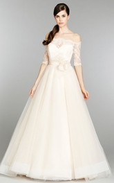 Tulle Long Lace Sleeve Off Classic Ball Gown