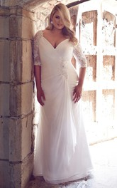 dipped-v-neck Half Sleeve central-draped Wedding Dress With Lace