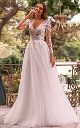 Ball Gown V-neck Lace Tulle Court Train Long Sleeve Open Back Wedding Dress With Appliques