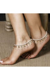 Summer Retro Pearl Crystal Stretch Sandals Anklets