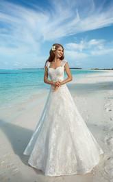 Cap-Sleeve Jewel Keyhole Long A-Line Lace Dress
