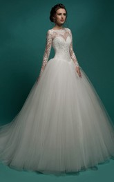 Illusion-Sleeve Pleated Floor-Length A-Line Tulle Dress