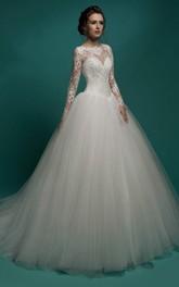 Illusion-Sleeve Pleated Floor-Length A-Line Tulle Dress