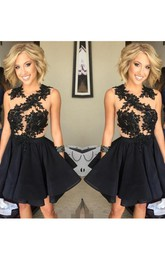 Sleeveless A-line Short Mini Jewel Appliques Ruching Ruffles Chiffon Lace Homecoming Dress