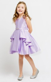 Jeweled Ribbon Short-Midi Slit Flower Girl Dress