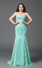 Sheath Floor-length Strapless Sleeveless Lace Brush Train Zipper Dress