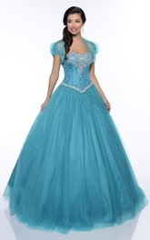 Floor-Length Back Corset Cap Tulle Ruffled Crystal Lace-Up Ball Gown
