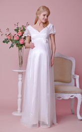 Short-Sleeved Satin Bow V-Neckline High-Waist Gown