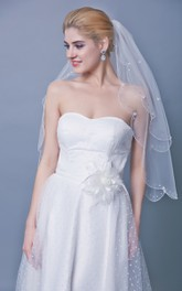 Beaded Scallop Edge Two Tier Veil