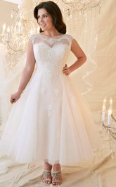 Tulle cap-sleeve Ankle-length Lace Wedding Dress With corset back