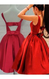 Sleeveless Ball Gown Tea-length Bow Ruching Satin Homecoming Dress