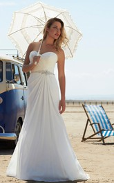 elegant Sweetheart Chiffon Criss-cross Wedding Dress With Embellished Waist