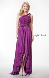 A-Line Pleated Jersey Ruffled Convertible High-Low Gown