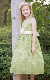 Embroidered Floral Tea-Length Taffeta Flower Girl Dress