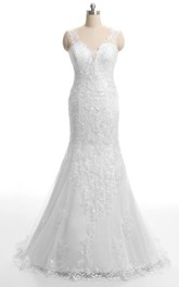 Lace Embroideries Low-V Back Backless Trumpet Gown