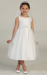 Lace Broach Tulle Layered Flower Girl Dress