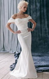 Satin Ruffled Fit-And-Flare Off-Shoulder Bridal Dress
