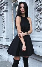 Halter Satin Sleeveless Short A Line Zipper Keyhole Homecoming Dress with Ruching