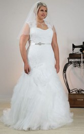 Queen Anne Mermaid Tulle Ruffled plus size wedding dress With Beading And Appliques