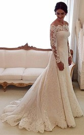 A-Line Pleated Off-The-Shoulder Vintage Lace Gown
