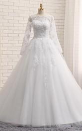 A-Line Long Jewel Long Sleeve Appliques Chapel Train Zipper Lace-Up Back Tulle Lace Sequins Dress
