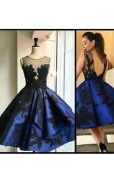Sleeveless Ball Gown Tea-length Bateau Appliques Ruffles Satin Homecoming Dress