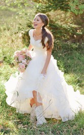 Queen Anne Organza Lace Cap Short Sleeve Wedding Gown