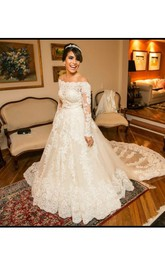 Off-the-shoulder Lace Tulle Illusion Long Sleeve Wedding Gown