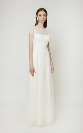 Simple Tulle Wedding Dress With Sweep Train