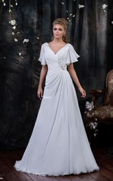 Poet-Sleeve Side Draping Flower Floor-Length A-Line Chiffon Gown