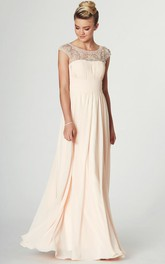 Cap-sleeve Ruched Chiffon Dress With Illusion And Beading