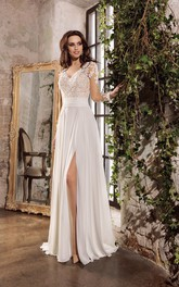 Sexy Chiffon Sheath V-neck Floor Length Wedding Dress with Lace and Applique