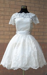 Wedding Sash Illusion Sleeve Short Scalloped Gown