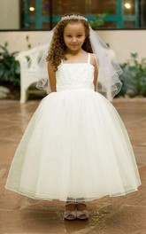 Criss-Cross Strapped Tea-Length Spaghetti Lace Flower Girl Dress