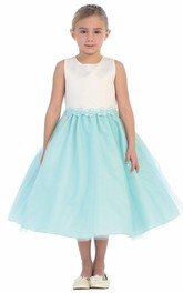 Sequined Ribbon Tea-Length Floral Flower Girl Dress