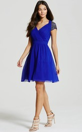 V-neck Cap-sleeve Beaded short A-line Dress With Ruching And Keyhole