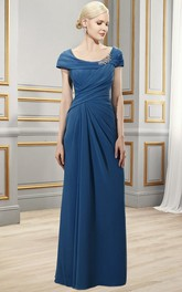 Scoop-Neck Zipper Back Formal Draping Broach Column Chiffon Dress