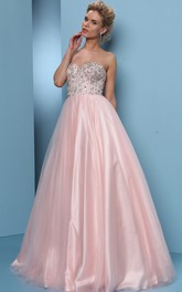 Sweetheart A-line Ball Gown Prom Dress With Beading And Corset Back